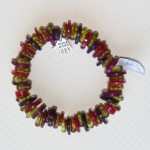purple and lime green button elastic bracelet