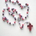 Pink wooden rosary