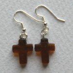 brown cross earrings