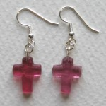 pink cross earrings